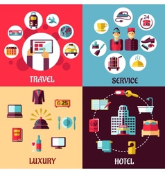 Travel and hotel services flat concept vector