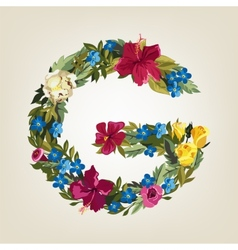 G letter flower capital alphabet colorful font vector