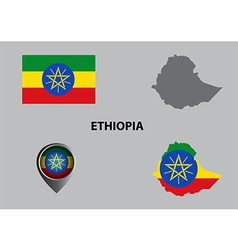Map of ethiopia and symbol vector