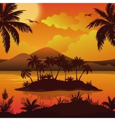Tropical islands palms flowers and birds vector image