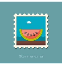 Watermelon slice flat stamp vector