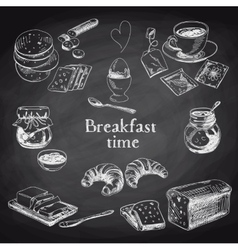 Breakfast hand drawn set vintage vector