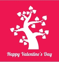 Valentines day tree with hearts icons vector