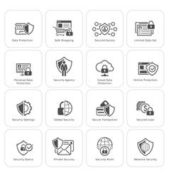 Flat design protection and security icons set vector