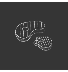 Grilled steak drawn in chalk icon vector