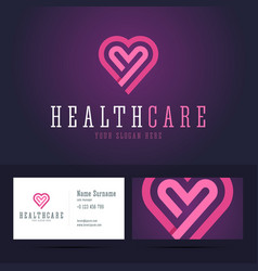Health care logo and business card template vector