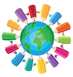 pencils around the globe vector image