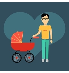 Father with a baby carriage banner vector