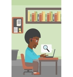 Businessman working on his laptop vector