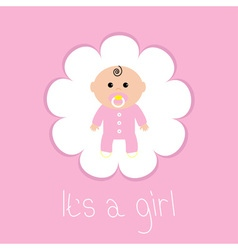 Baby shower card its a girl flower frame flat vector