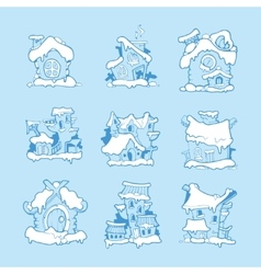 Big Set of hand drawn christmas or winter vector image vector image