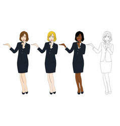 business woman with microphone presentation vector image vector image