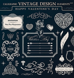 Calligraphic vintage ornament set Happy valentine vector image vector image