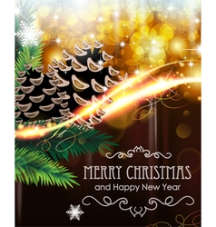 Christmas tree branches with cones vector
