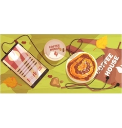 Coffee shop table outdoors with barista apron vector