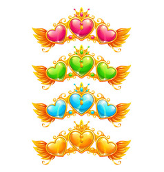 Cool golden banners with colorful crystal hearts vector