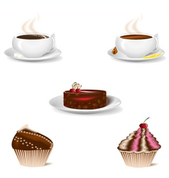 cup of coffee and dessert cakes vector image vector image