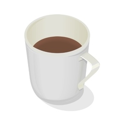 Cup of coffee isolated design flat hot beverage vector