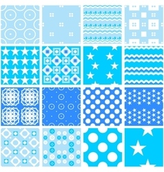 Cute blue seamless patterns Endless vector image