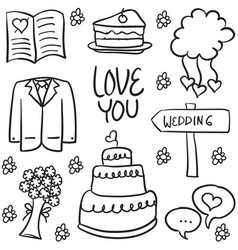 Doodle of element wedding various vector