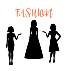 Fashion woman silhouette in summer dresses vector