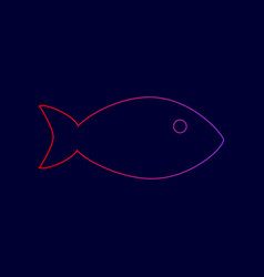 Fish sign line icon with vector