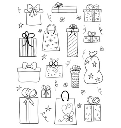 Gift boxes set Hand drawn sketch vector image