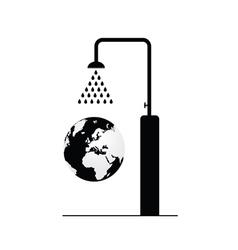 Globe under shower vector
