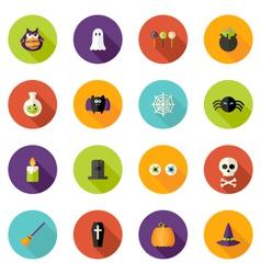 Halloween Flat Circle Icons Set vector image vector image
