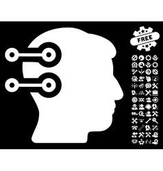 Head connectors icon with tools bonus vector