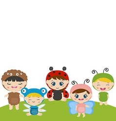 Kids dressed as insect cute costume vector
