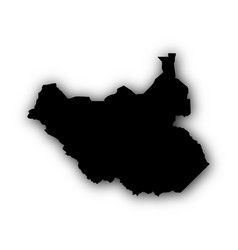 Map of south sudan with shadow vector