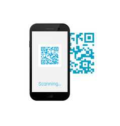 mobile phone scanning qr code qr code on screen vector image