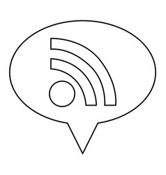 monochrome contour of oval speech with wifi icon vector image vector image
