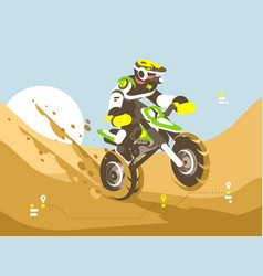 motorcyclist racing in desert vector image