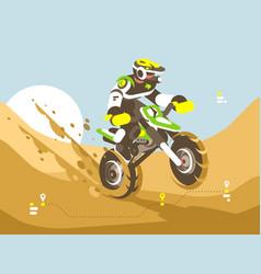 motorcyclist racing in desert vector image vector image