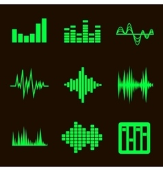 music soundwave icon set on black vector image
