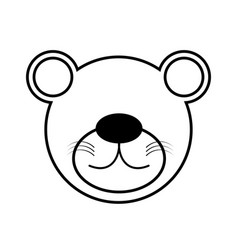 outline bear head animal vector image