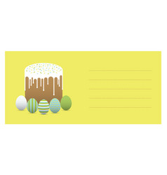 Painted eggs with easter cake greeting card vector