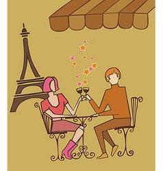 Paris couple celebrating vector image