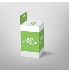 Realistic product package box mock-up with hang vector