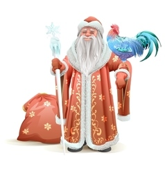 Russian santa claus holding blue rooster symbol of vector