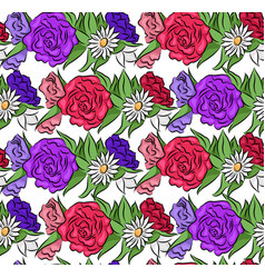 seamless floral texture with flowers vector image vector image