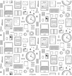 Seamless Pattern Office Supplies Flat Monochrome vector image