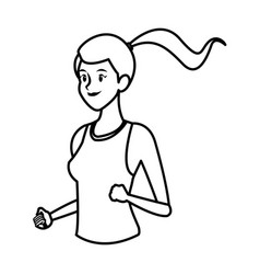 Sport girl running athletic fitness line vector