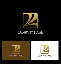 square loop business gold logo vector image