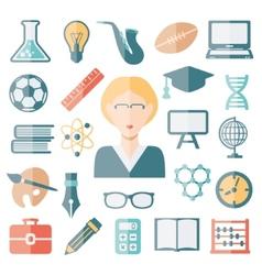 teacher flat icons vector image