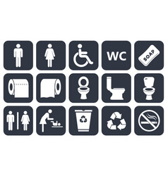 toilet icons set vector image