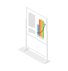 White placard with growing schedule cartoon style vector