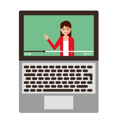 young woman waving happy in laptop avatar vector image